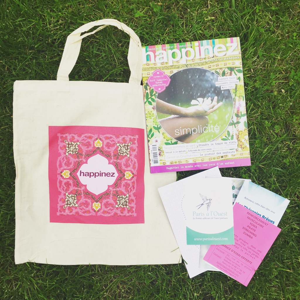la sac cadeau des magazines Happinez et Simple Things