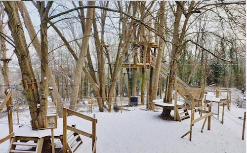 Le parc Accrocamp sous la neige