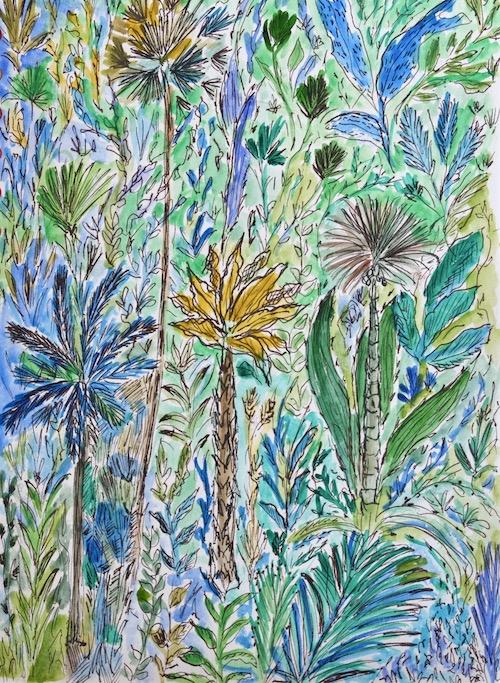 Aquarelle Virginie Langlois bleu vert