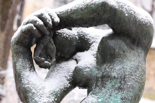 Sculptures jardin Rodin sous la neige