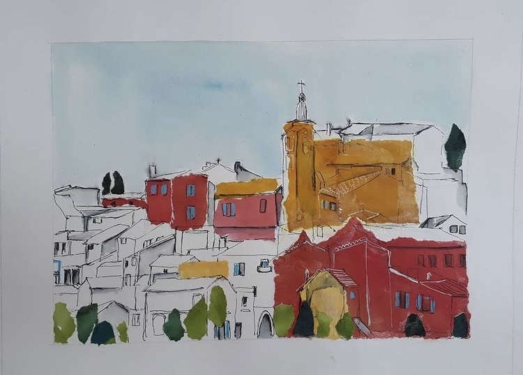 Village du Roussillon encre et collage