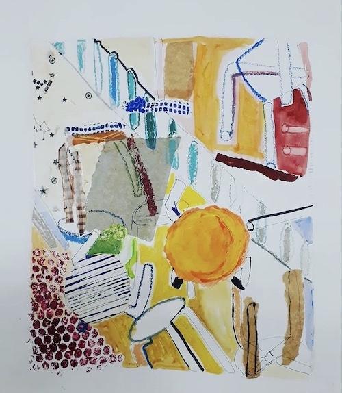 Tabourets dans l'atelier Acrylique et collage